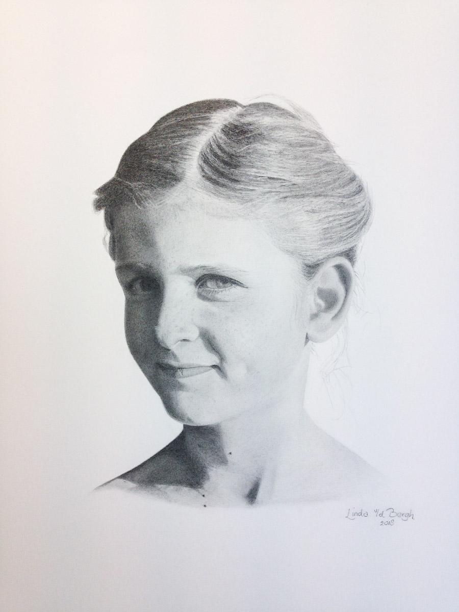 Getekend Portret in opdracht gemaakt door Linda van den Bergh