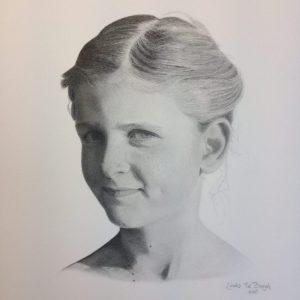 getekend portret meisje door linda vd bergh