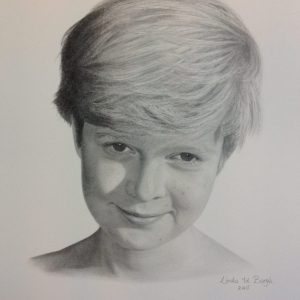 getekend portret jongen door linda vd bergh