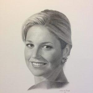 getekend portret van koningin maxima door linda vd bergh