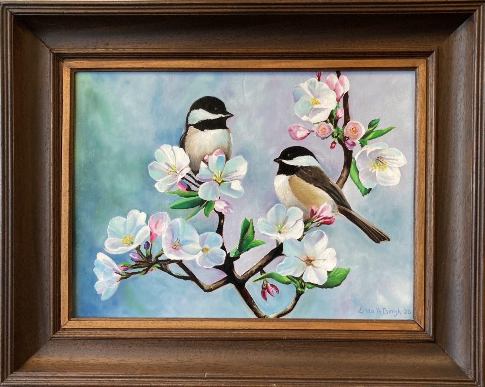 Olieverf schilderij van vogels met bloesem door Linda van den Bergh