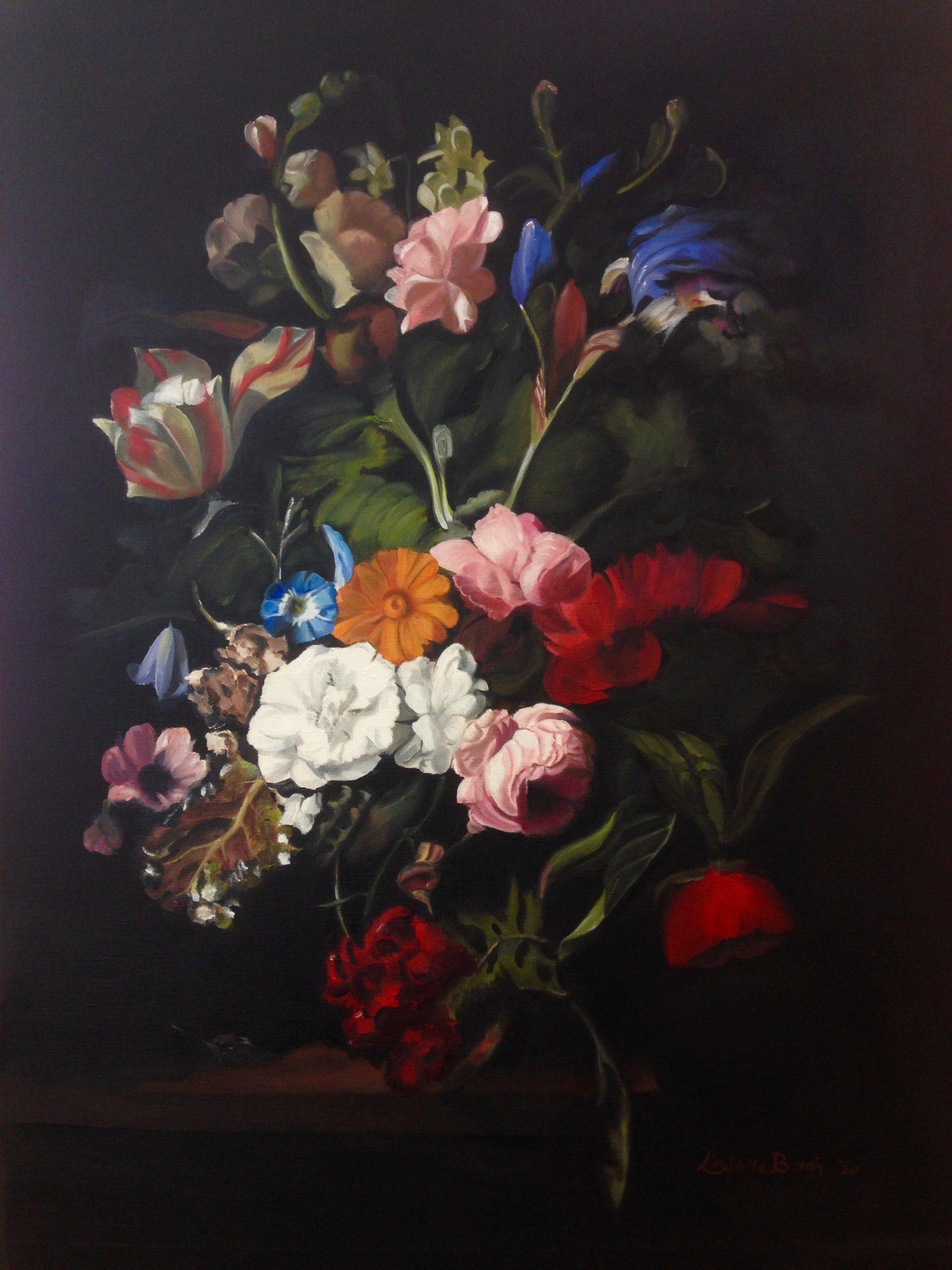 Bloemen schilderij met olieverf, bloemstilleven door Linda van den Bergh
