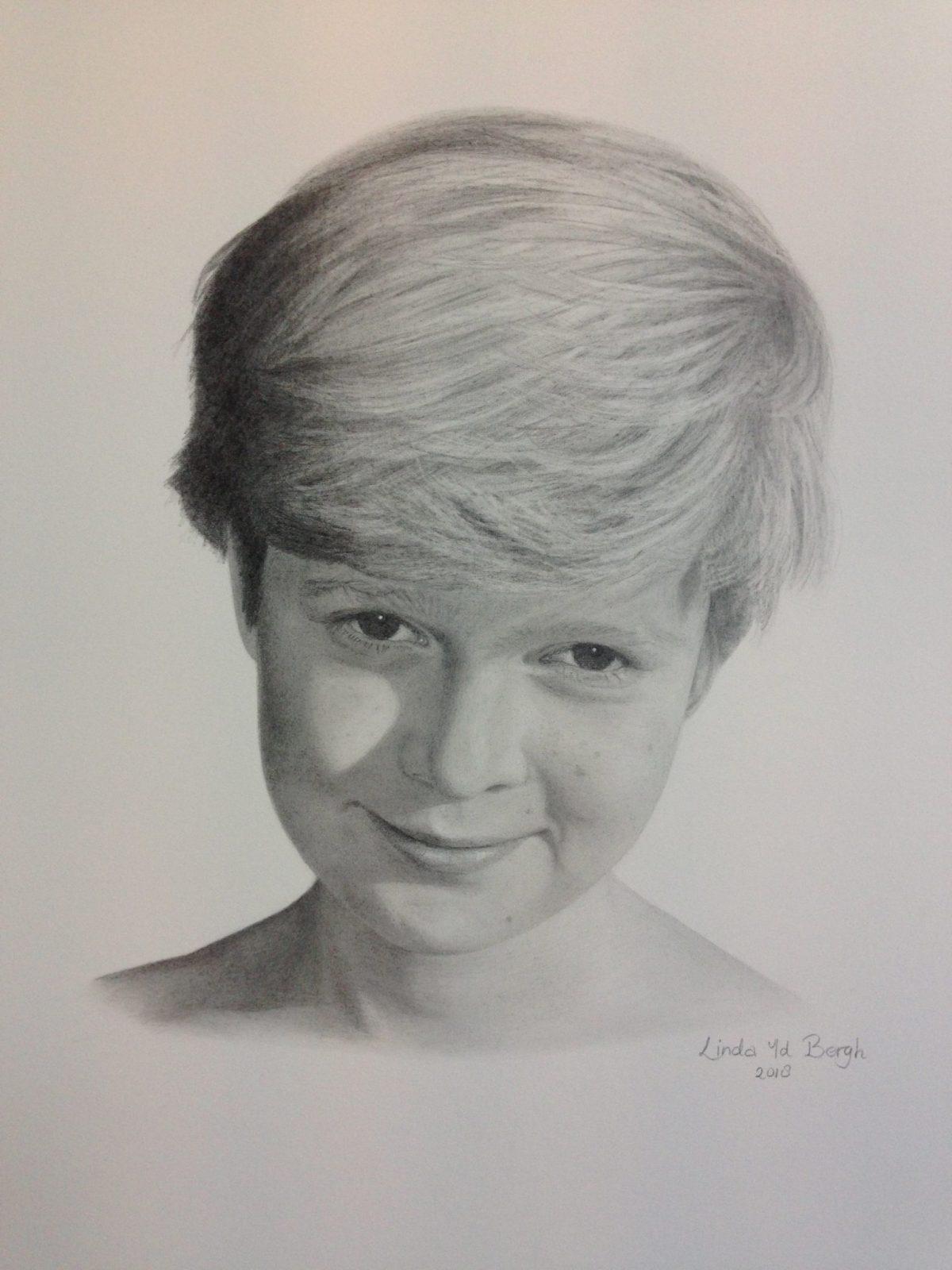 Kinderportret in opdracht, getekend met potlood door linda vd bergh