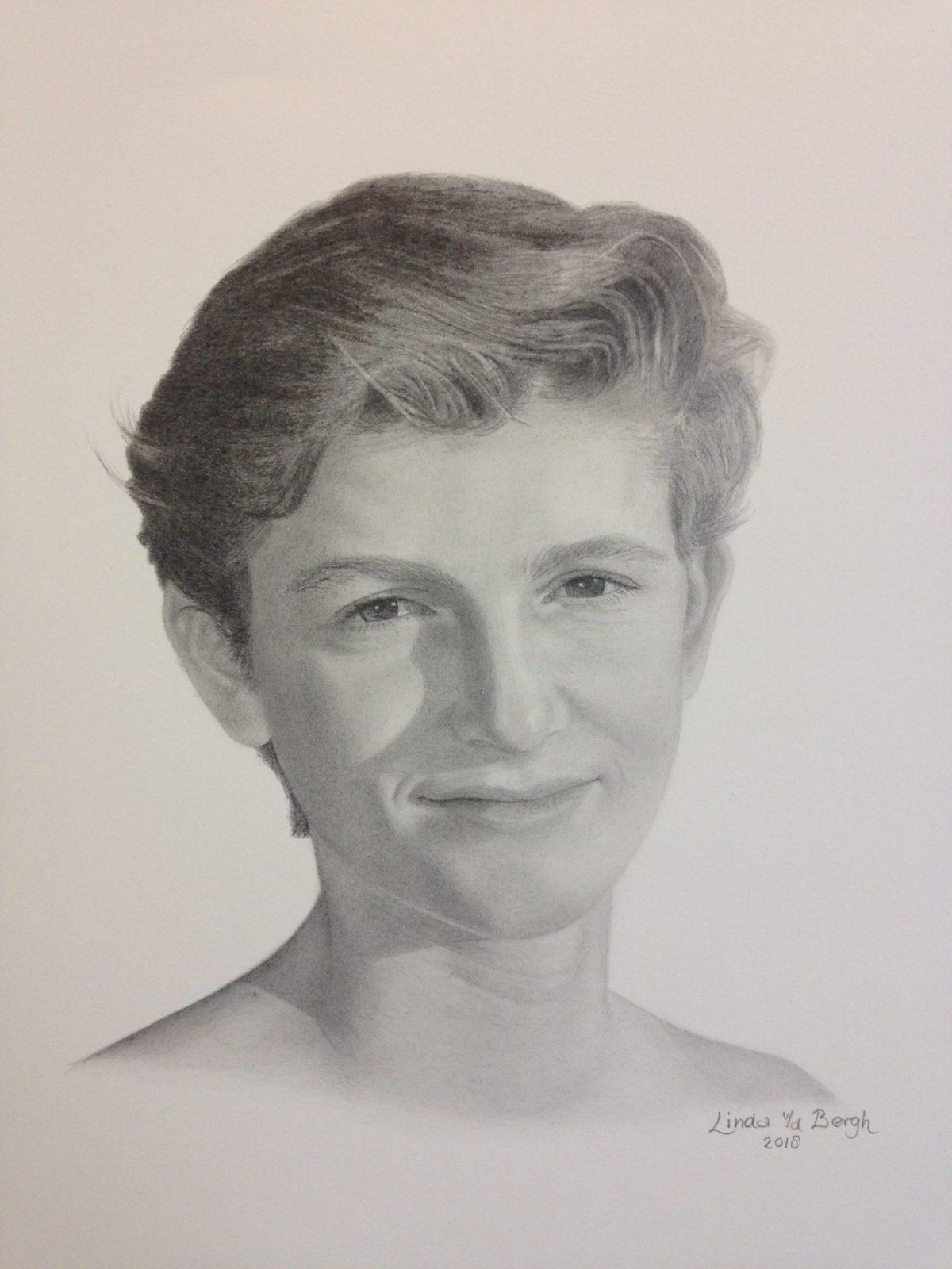 getekend portret jongeman door linda vd bergh