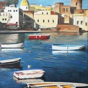 schilderij van toscaanse kust door linda vd bergh