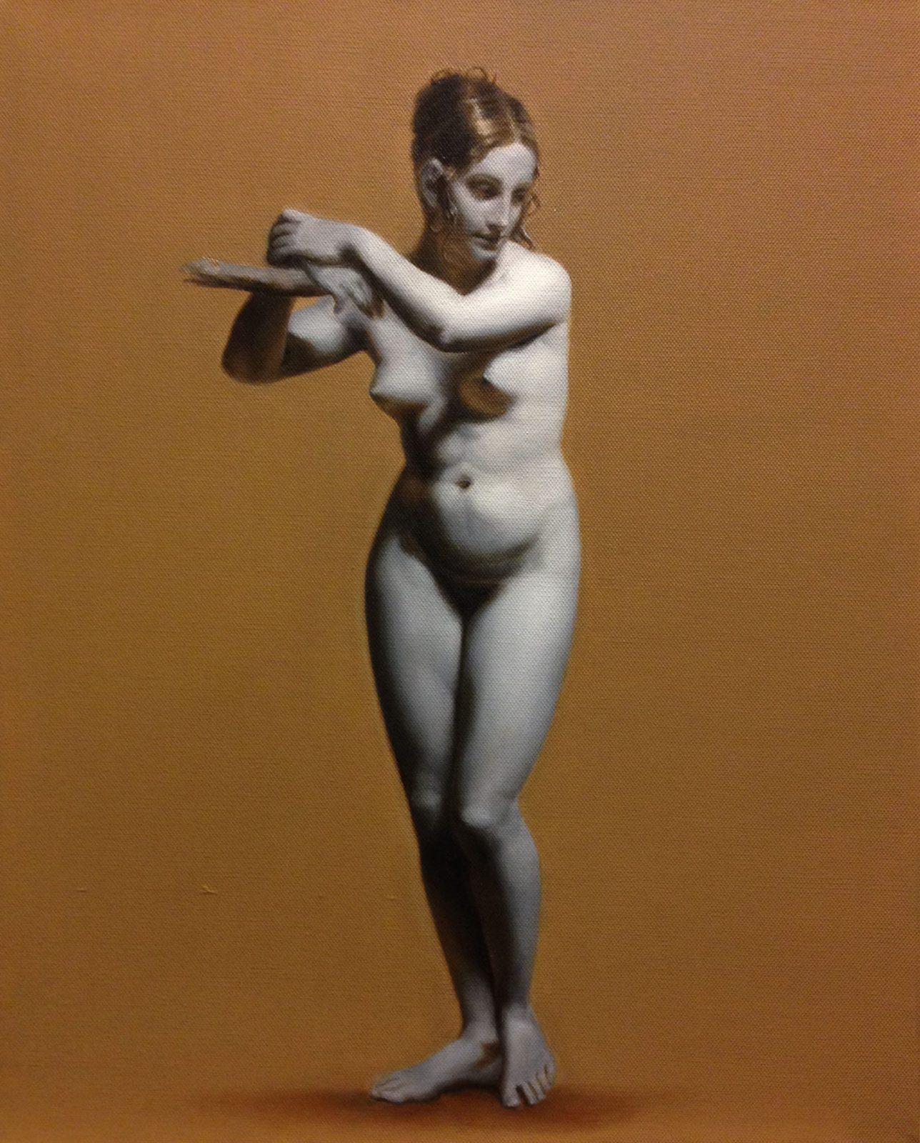 grisaille schilderij van een vrouw door linda vd bergh
