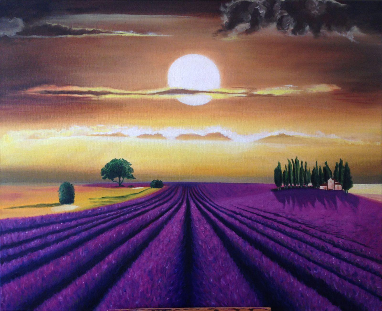 schilderij van lavendelvelden en ondergaande zon door linda vd bergh
