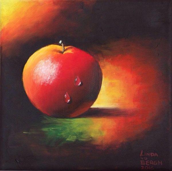 stilleven appel geschilderd door linda vd bergh
