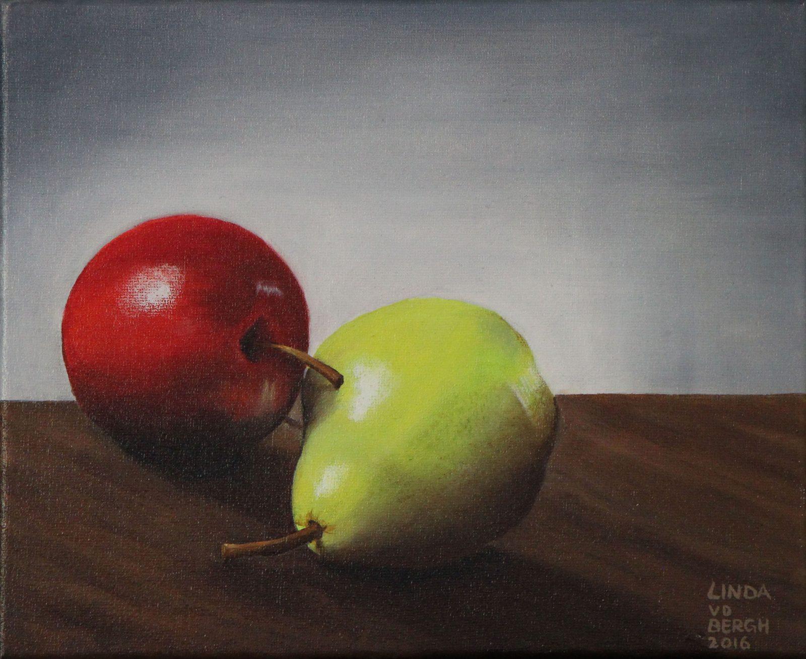 schilderij van een appel en peer door linda vd bergh