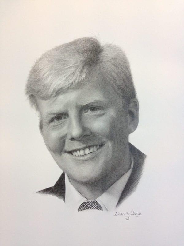 getekend portret koning Willem-Alexander door linda vd bergh
