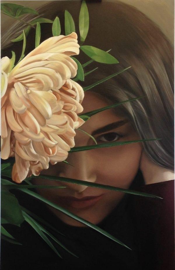 Olieverf portret van Georgina Selviyan geschilderd door linda vd bergh olieverf op paneel