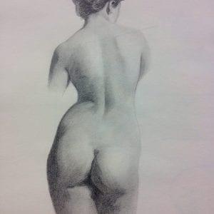 potlood tekening naakte vrouw door Linda vd Bergh, Artstudio Linda Amstelveen
