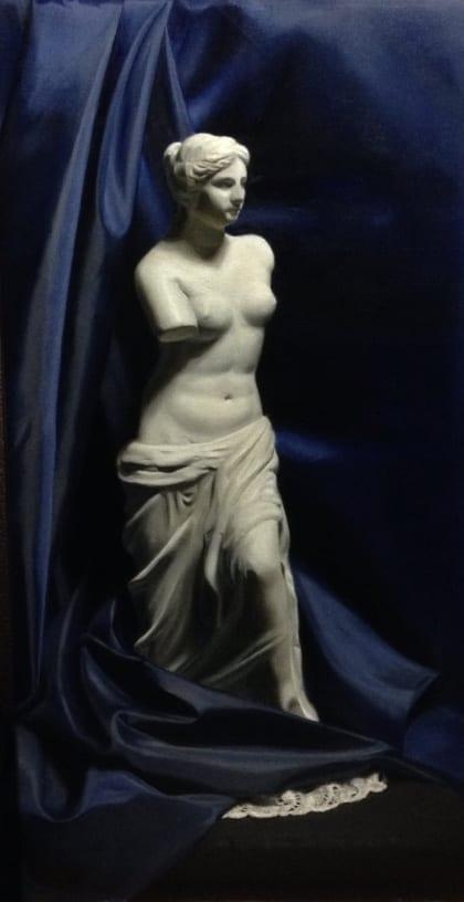 schilderij Venus met blauwe doek geschilderd in olieverf