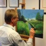cursist aan het schilderen bij artstudio linda
