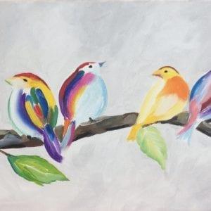 Schilderworkshop vrolijke vogels in acryl,bij artstudio linda