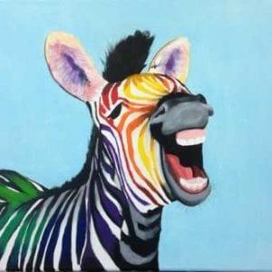 workshop De Zotte Zebra geschilderd in acryl