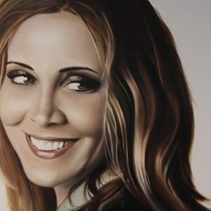 Portret van Anouk geschilderd in olieverf op doek
