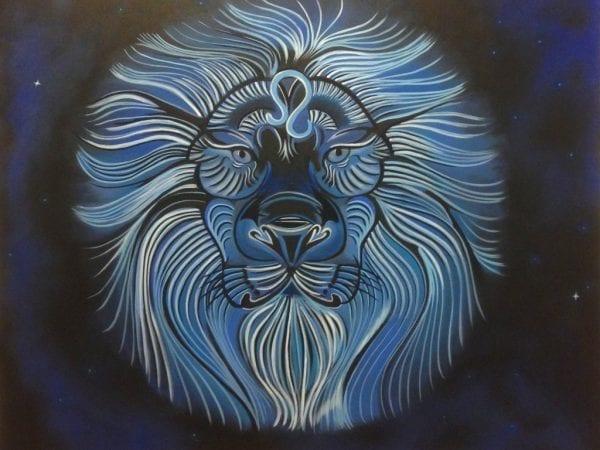 leeuw in blauwe tinten, olieverf op doek door linda vd bergh