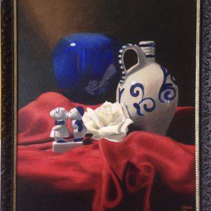 schilderij hollands glorie olieverf op doek met vazen en boerenstelletje
