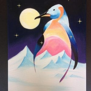 workshop arctic pinguin in acryl artstudiolinda