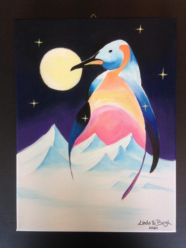 workshop arctic pinguin in acryl artstudiolinda