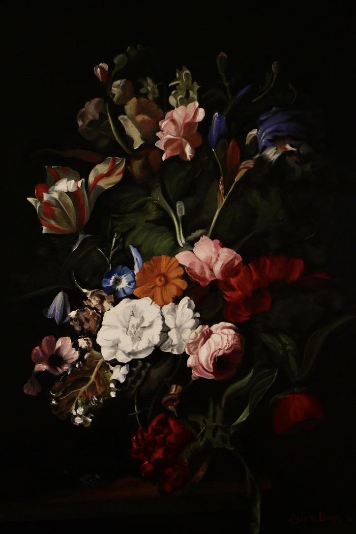 Pagina afbeelding masterclass bloemen schilderen bij Artstudio Linda, klassiek bloemstilleven in olieverf, geschilderd door Linda vd Bergh