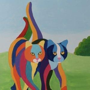 handgeschilderde poezen in vrolijke kleuren met acryl verf