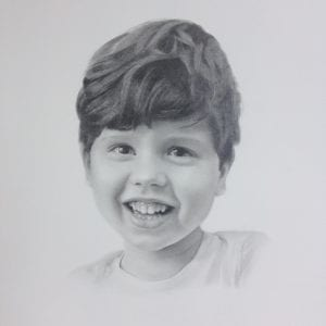 getekend portret kind door Linda van den Bergh