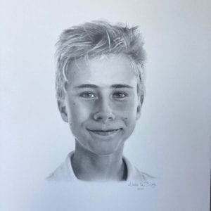 Handgetekend realistisch Portret met potlood,tekening kind, tekenles amstelveen, artstudio linda, www.artstudiolinda.nl, portrait drawing, gezicht jongen, tekening jongen, portret laten maken
